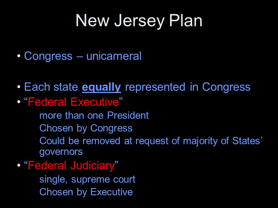 New Jersey Plan Congress – unicameral Each state equally represented in Congress Federal Executive more than one President Chosen by Congress Could be removed at request of majority of States' governors Federal Judiciary single, supreme court Chosen by Executive