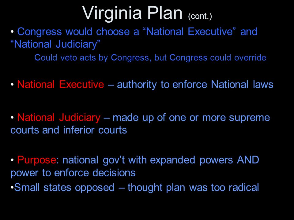Virginia Plan (cont.) Congress would choose a National Executive and National Judiciary Could veto acts by Congress, but Congress could override National Executive – authority to enforce National laws National Judiciary – made up of one or more supreme courts and inferior courts Purpose: national gov't with expanded powers AND power to enforce decisions Small states opposed – thought plan was too radical