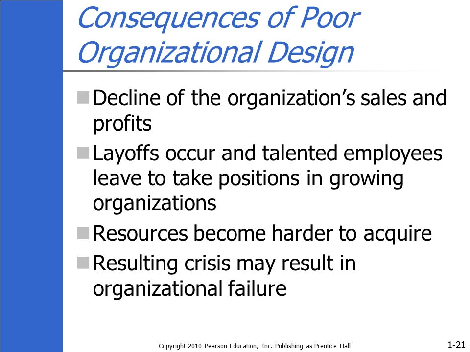 1- Copyright 2010 Pearson Education, Inc. Publishing as Prentice Hall 21 Consequences of Poor Organizational Design Decline of the organization's sale