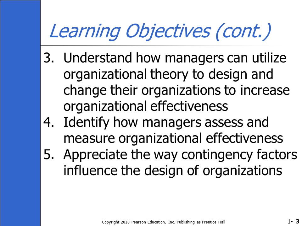 1- Copyright 2010 Pearson Education, Inc. Publishing as Prentice Hall 333 Learning Objectives (cont.) 3.Understand how managers can utilize organizati