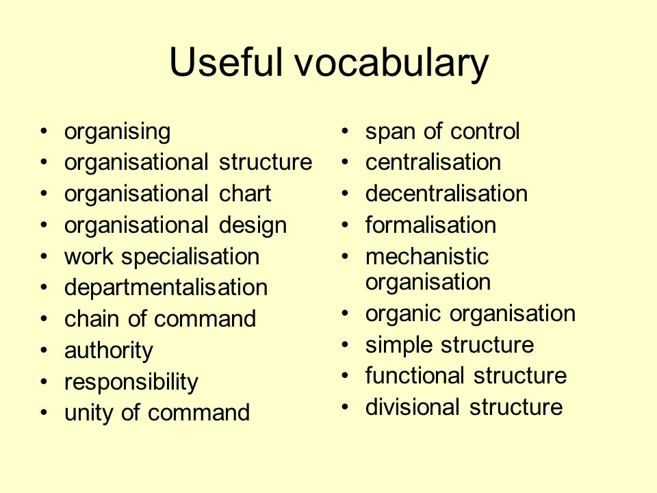 Useful vocabulary organising organisational structure organisational chart organisational design work specialisation departmentalisation chain of comm