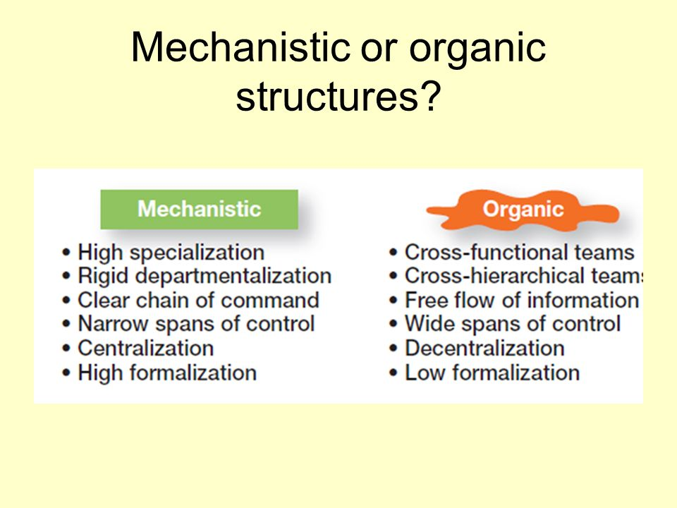Mechanistic or organic structures