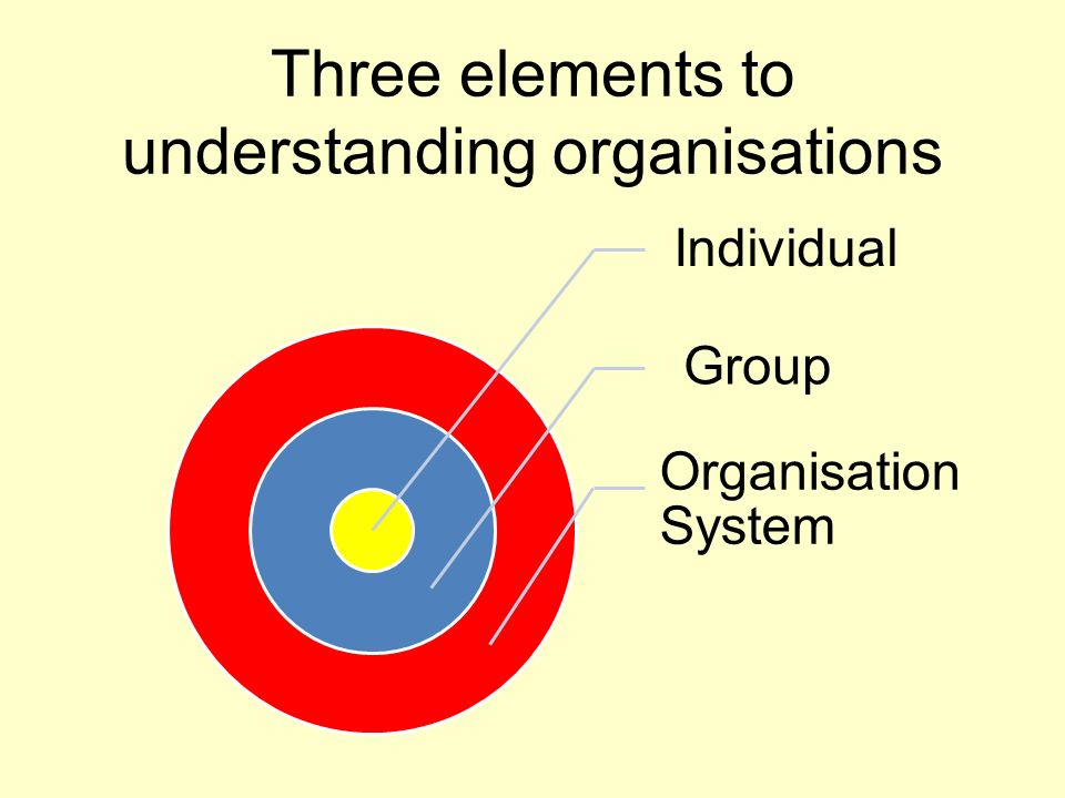 Three elements to understanding organisations Individual Group Organisation System