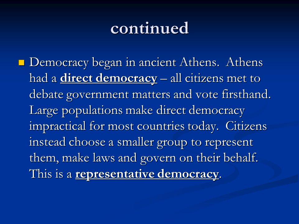 continued Democracy began in ancient Athens.
