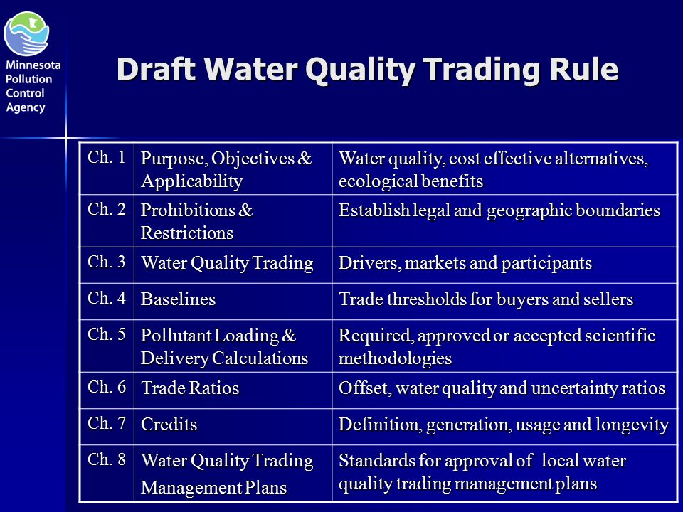Draft Water Quality Trading Rule Ch.
