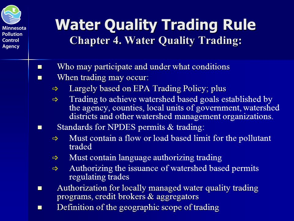 Water Quality Trading Rule Chapter 4.