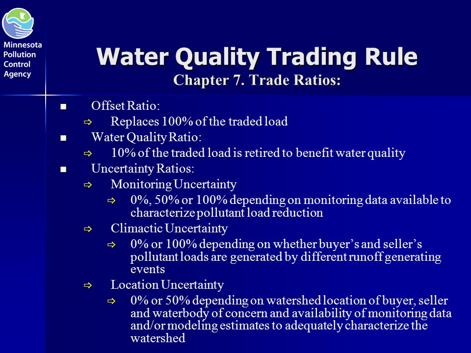 Water Quality Trading Rule Chapter 7.
