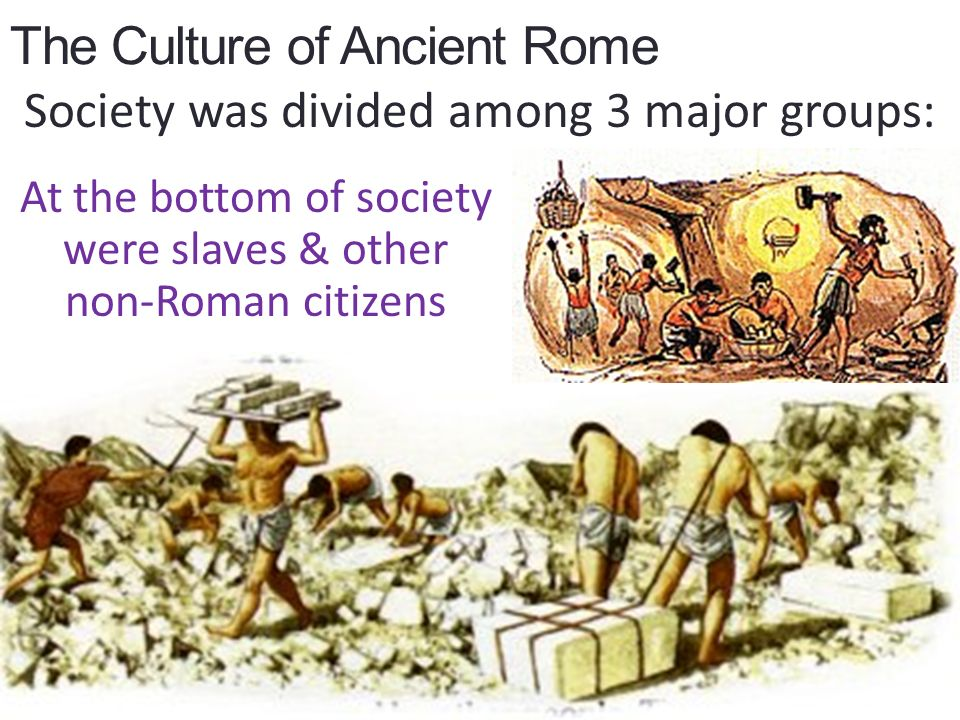 The Culture of Ancient Rome Society was divided among 3 major groups: At the bottom of society were slaves & other non-Roman citizens
