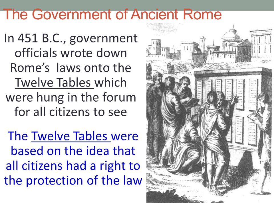 The Government of Ancient Rome In 451 B.C., government officials wrote down Rome's laws onto the Twelve Tables which were hung in the forum for all citizens to see The Twelve Tables were based on the idea that all citizens had a right to the protection of the law