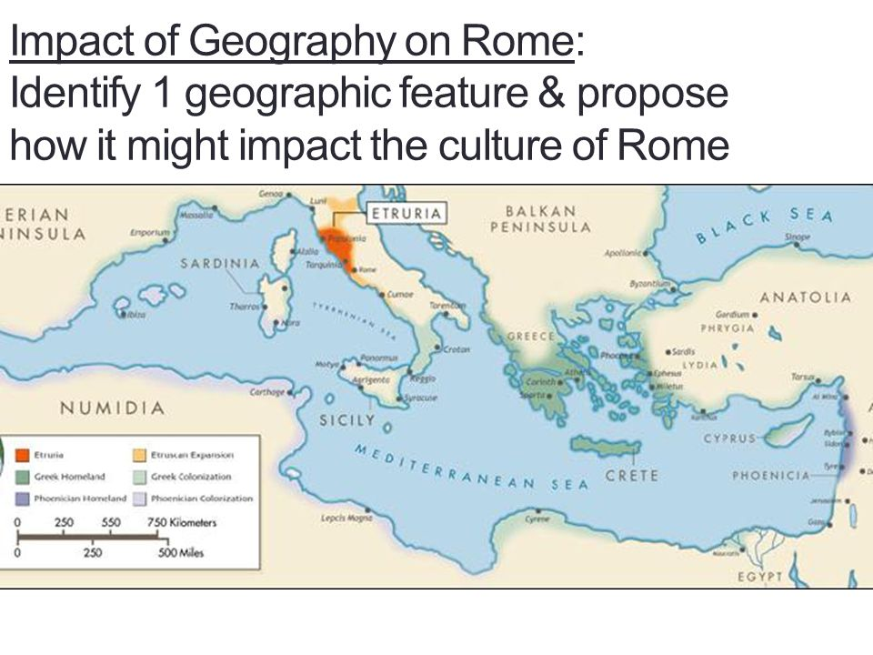 Impact of Geography on Rome: Identify 1 geographic feature & propose how it might impact the culture of Rome