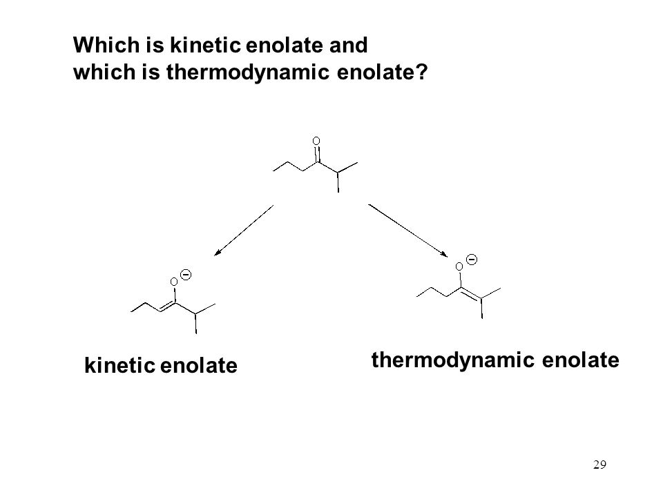 29 Which is kinetic enolate and which is thermodynamic enolate.