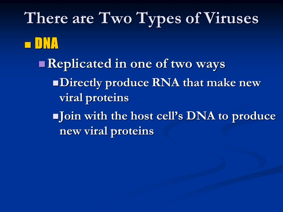 There are Two Types of Viruses DNA DNA Replicated in one of two ways Replicated in one of two ways Directly produce RNA that make new viral proteins Directly produce RNA that make new viral proteins Join with the host cell's DNA to produce new viral proteins Join with the host cell's DNA to produce new viral proteins