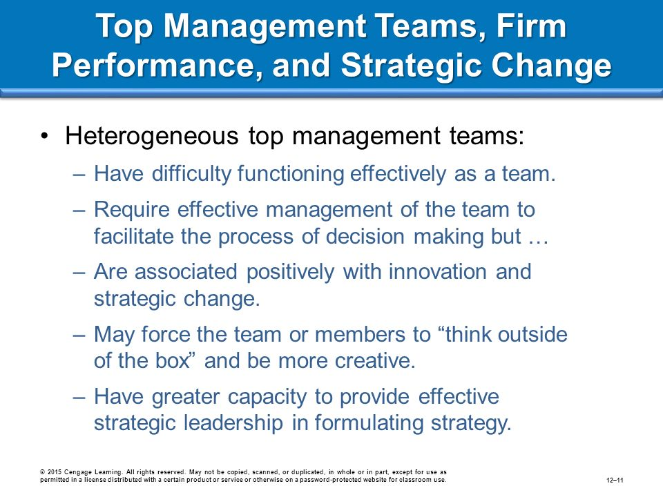 Top Management Teams, Firm Performance, and Strategic Change Heterogeneous top management teams: –Have difficulty functioning effectively as a team.