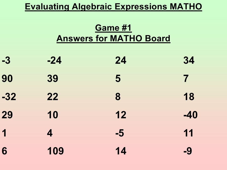 Evaluating Algebraic Expressions MATHO Game #1 Answers for MATHO Board