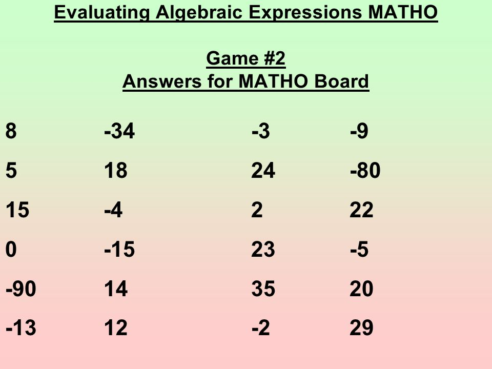 Evaluating Algebraic Expressions MATHO Game #2 Answers for MATHO Board