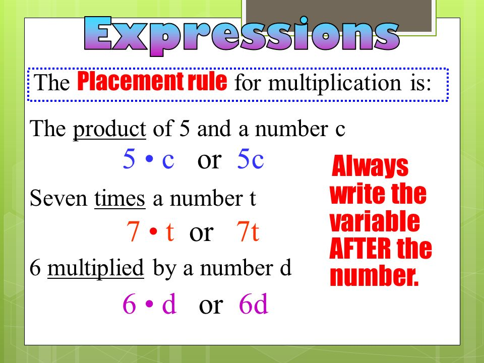 Word Phrases for multiplication are: The product of 5 and a number c Seven times a number t 6 multiplied by a number d 5 c or 5c 7 t or 7t 6 d or 6d