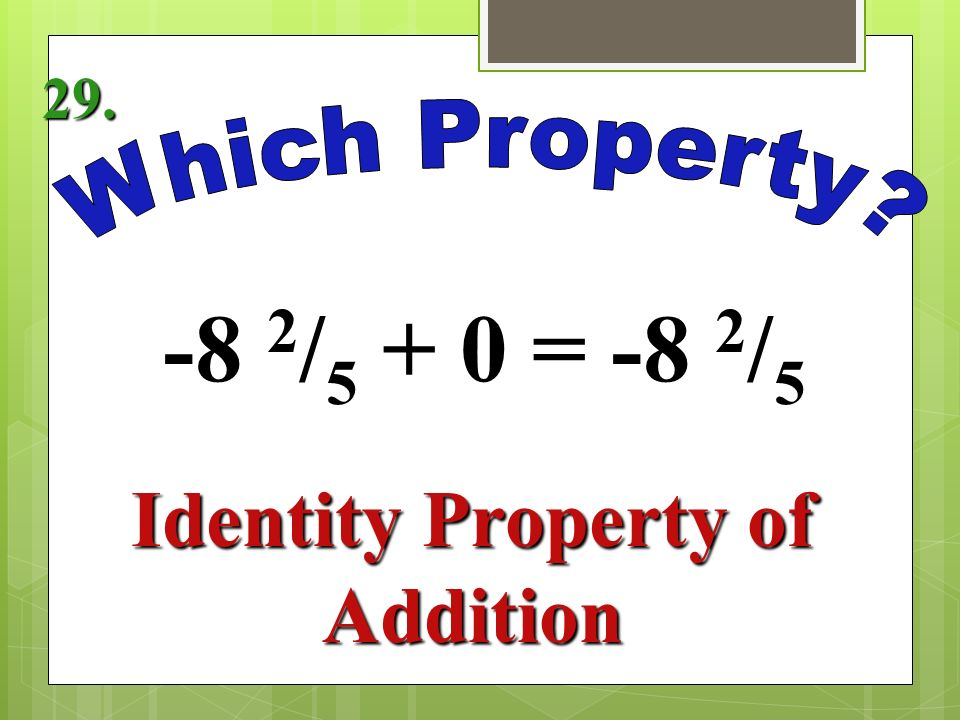 1 2 / 5 1 = 1 2 / 5 Identity Property of Multiplication 27.