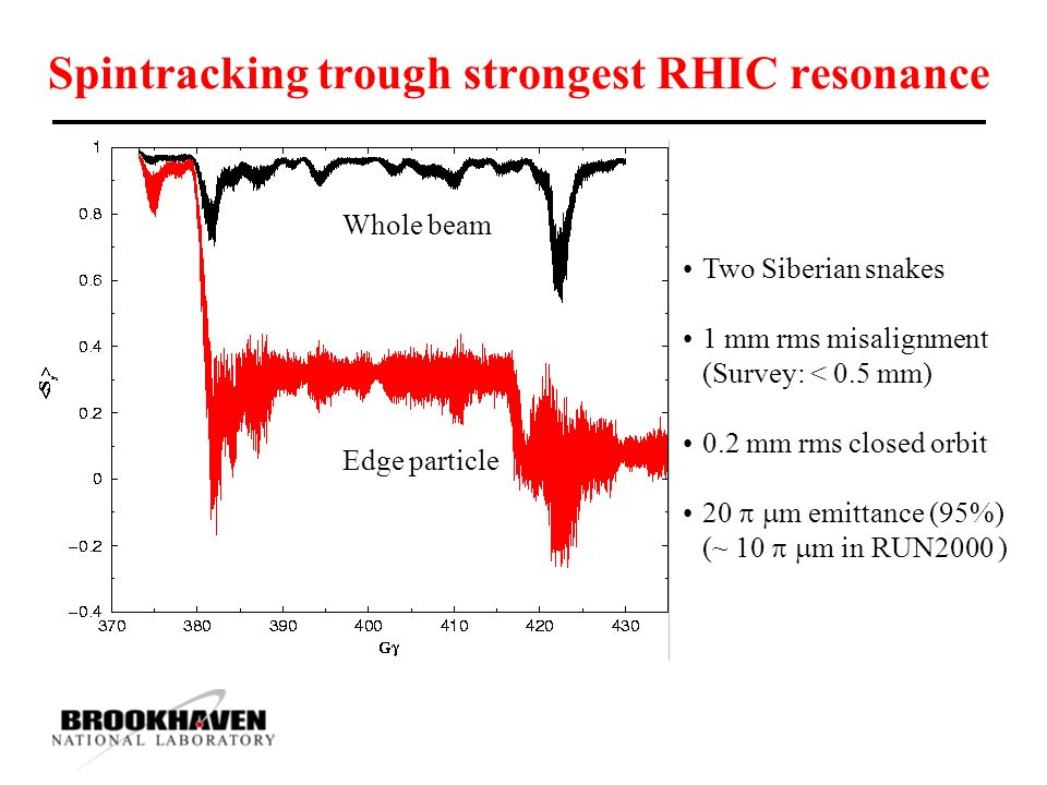Spintracking trough strongest RHIC resonance Two Siberian snakes 1 mm rms misalignment (Survey: < 0.5 mm) 0.2 mm rms closed orbit 20   m emittance (95%) (~ 10   m in RUN2000 ) Whole beam Edge particle