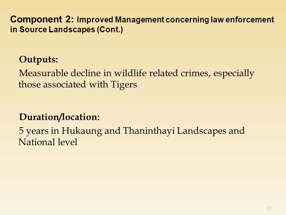 Outputs: Measurable decline in wildlife related crimes, especially those associated with Tigers Duration/location: 5 years in Hukaung and Thaninthayi Landscapes and National level 10 Component 2: Improved Management concerning law enforcement in Source Landscapes (Cont.)