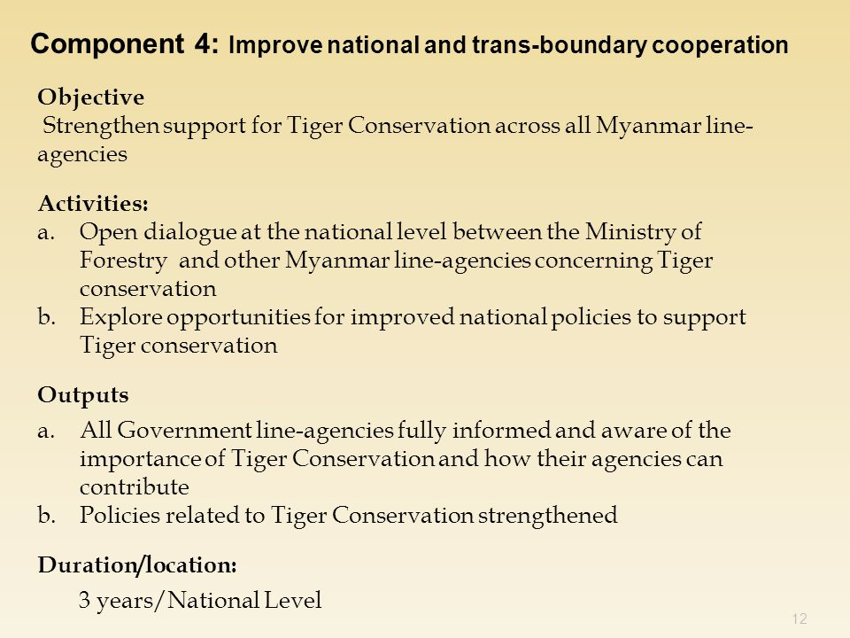 12 Component 4: Improve national and trans-boundary cooperation Objective Strengthen support for Tiger Conservation across all Myanmar line- agencies Activities: a.Open dialogue at the national level between the Ministry of Forestry and other Myanmar line-agencies concerning Tiger conservation b.Explore opportunities for improved national policies to support Tiger conservation Outputs a.All Government line-agencies fully informed and aware of the importance of Tiger Conservation and how their agencies can contribute b.Policies related to Tiger Conservation strengthened Duration/location: 3 years/National Level