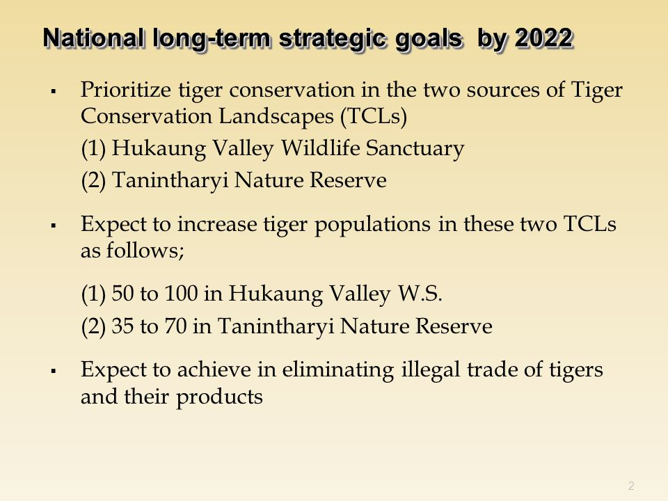  Prioritize tiger conservation in the two sources of Tiger Conservation Landscapes (TCLs) (1) Hukaung Valley Wildlife Sanctuary (2) Tanintharyi Nature Reserve  Expect to increase tiger populations in these two TCLs as follows; (1) 50 to 100 in Hukaung Valley W.S.