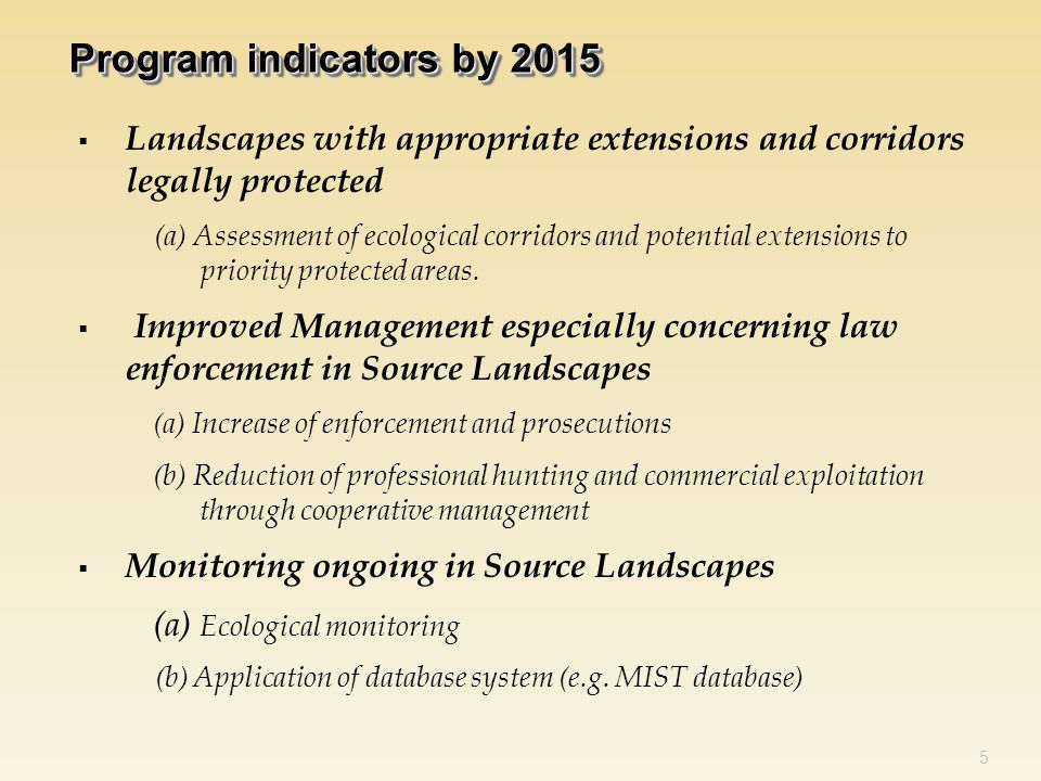  Landscapes with appropriate extensions and corridors legally protected (a) Assessment of ecological corridors and potential extensions to priority protected areas.
