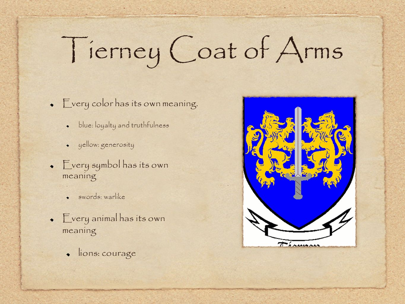 Coats of arms world history cp ms cook todays objective tswbat tierney coat of arms every color has its own meaning biocorpaavc Images