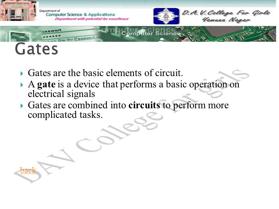  Gates are the basic elements of circuit.