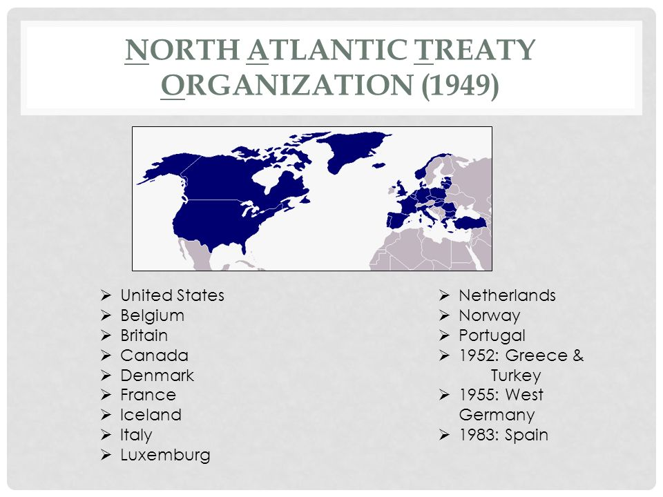 NATO: THE WESTERN NATIONS JOIN FORCES NATO's primary purpose was to unify and strengthen the Western Allies' military response to a possible invasion of western Europe by the Soviet Union and its Warsaw Pact allies It was primarily a security pact, stating that a military attack against any of the signing countries would be considered an attack against them all