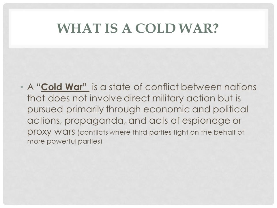 THE COLD WAR CONFLICT