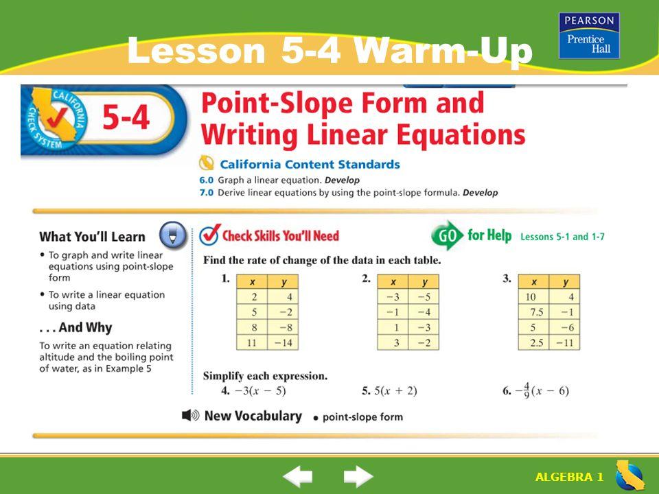 Algebra 1 Lesson 5 4 Warm Up Algebra 1 Point Slope Form And