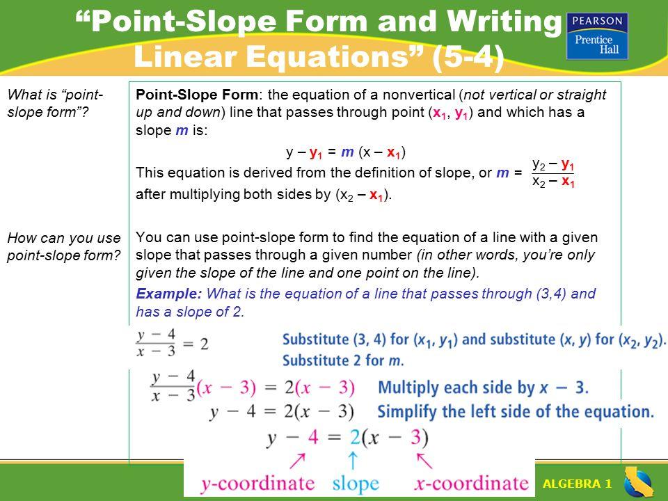"ALGEBRA 1 Lesson 5-4 Warm-Up. ALGEBRA 1 ""Point-Slope Form and ..."