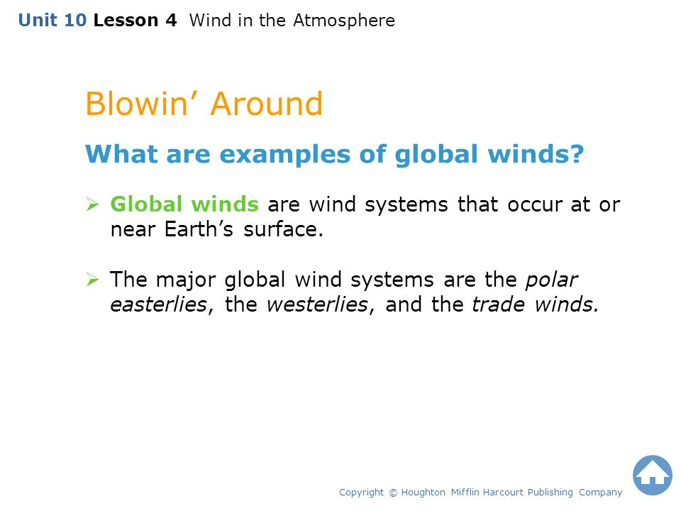 Blowin' Around Copyright © Houghton Mifflin Harcourt Publishing Company What are examples of global winds.