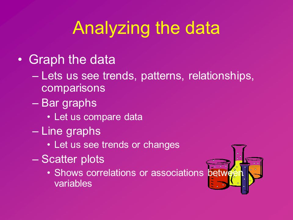 Analyzing the data Graph the data –Lets us see trends, patterns, relationships, comparisons –Bar graphs Let us compare data –Line graphs Let us see trends or changes –Scatter plots Shows correlations or associations between variables