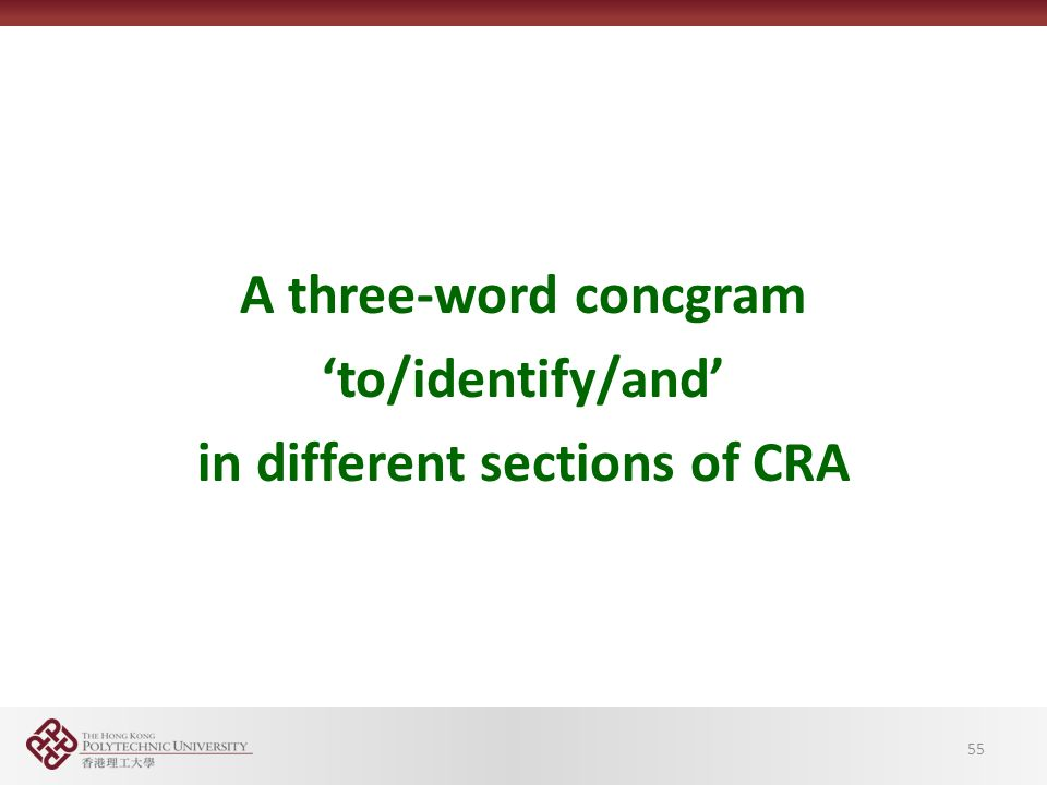 55 A three-word concgram 'to/identify/and' in different sections of CRA