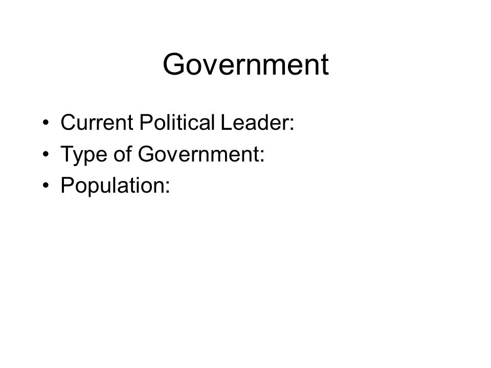 Government Current Political Leader: Type of Government: Population: