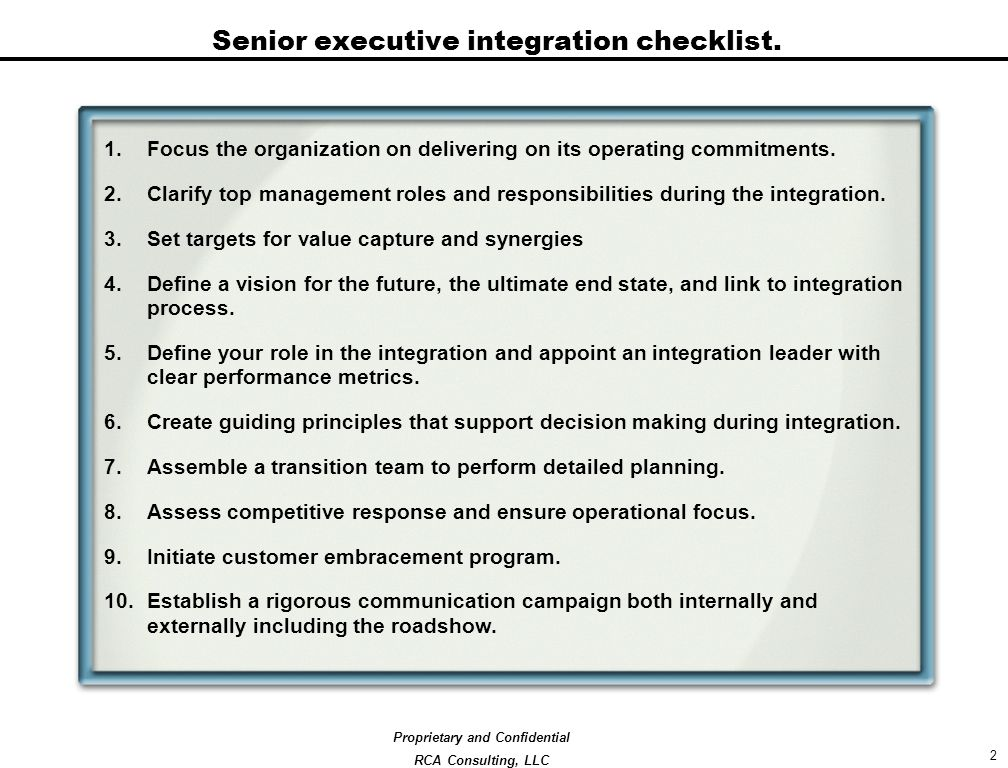 RCA Consulting Thoughts on Post Merger Integration. - ppt download