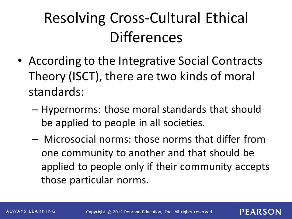 Copyright © 2012 Pearson Education, Inc. All rights reserved. Resolving Cross-Cultural Ethical Differences According to the Integrative Social Contrac