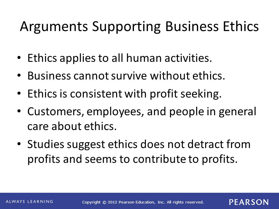 Copyright © 2012 Pearson Education, Inc. All rights reserved. Arguments Supporting Business Ethics Ethics applies to all human activities. Business ca