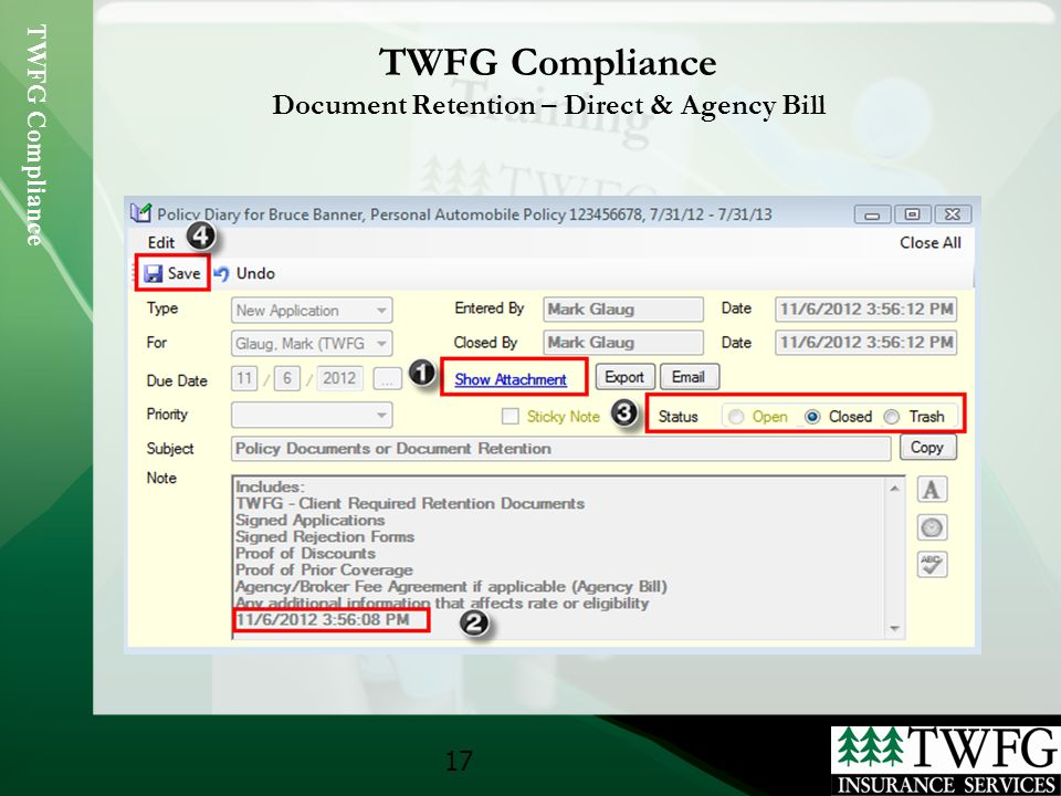 Twfg Compliance 1. 2 Agenda Policy Entry Document Retention Agency