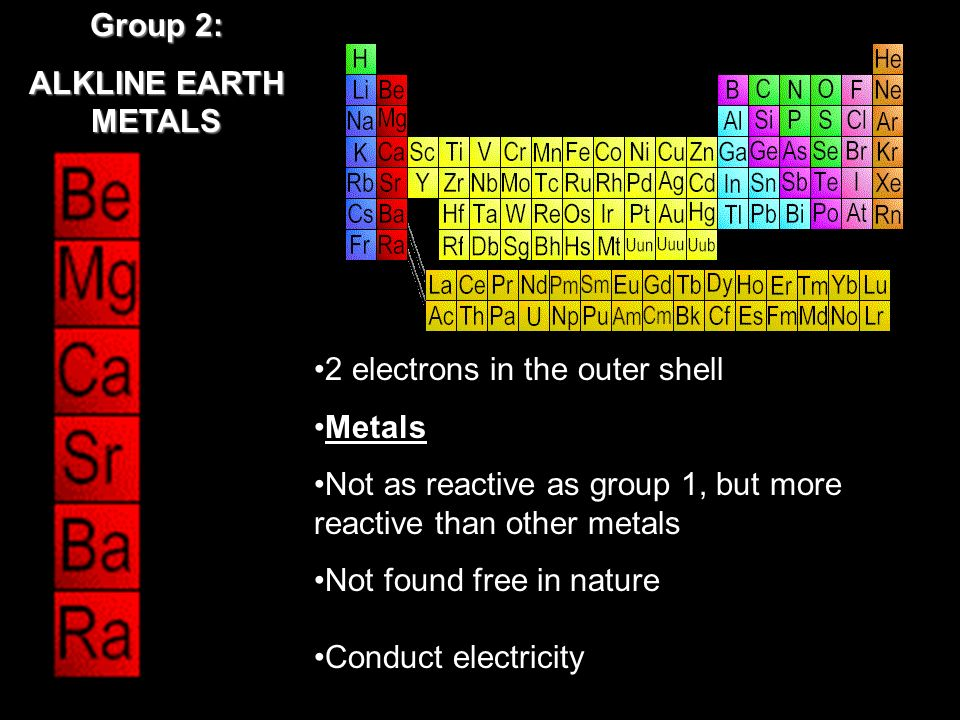 2 electrons in the outer shell Metals Not as reactive as group 1, but more reactive than other metals Not found free in nature Conduct electricity Group 2: ALKLINE EARTH METALS