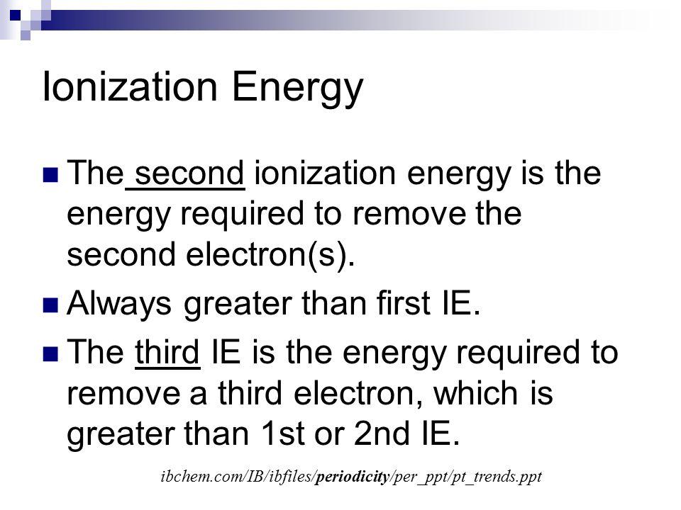 Second ionization energy trend