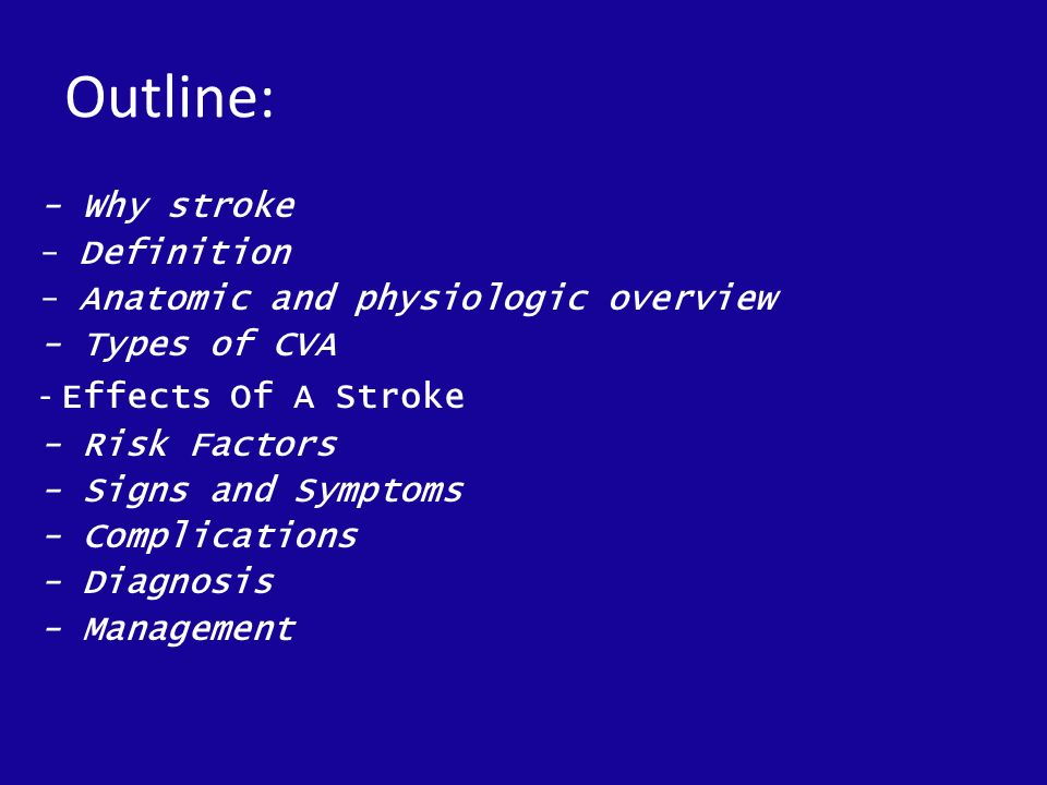 Stroke Objectives: At the end of this session, the trainees should ...