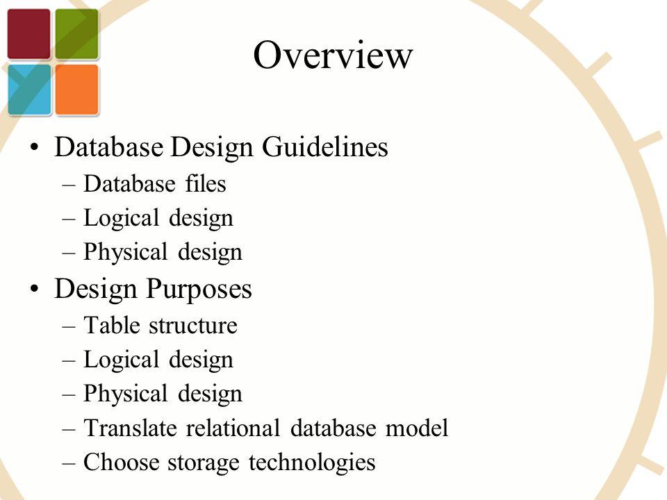 3 overview database design guidelines database files logical design physical design design purposes table structure logical design physical design - Database Design Guidelines