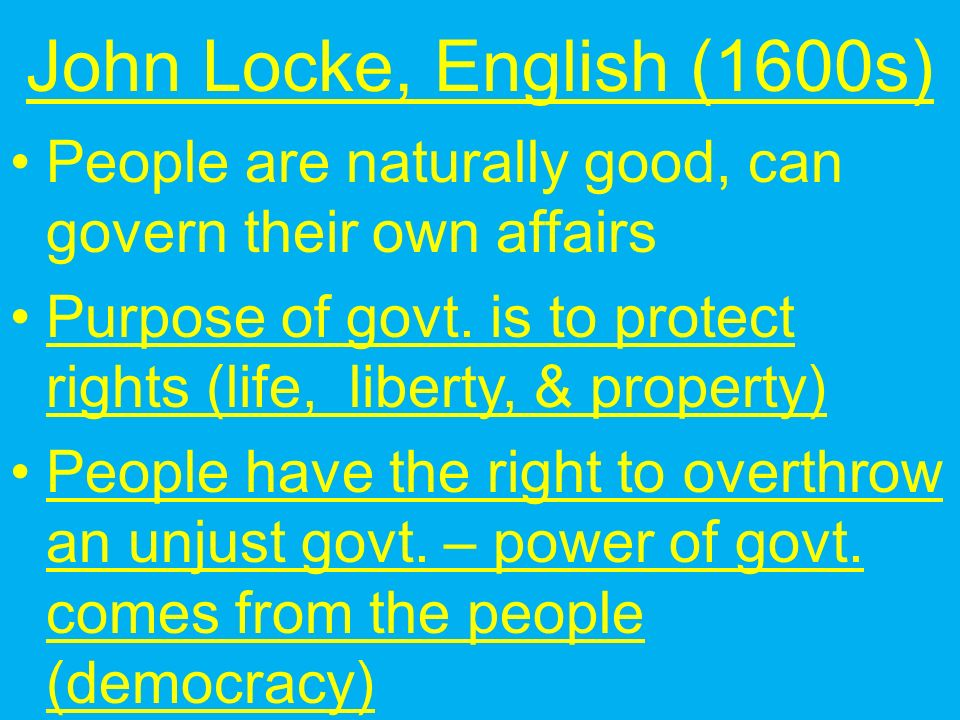 Enlightenment Thinkers Thomas Hobbes, English (1600s) Wrote: Leviathan distrusts humans, favors strong government to keep order Promotes social contract— getting order by giving power to absolute monarch