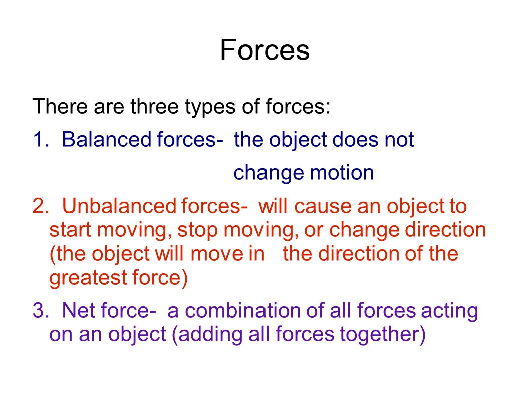 Balanced vs unbalanced forces answer key
