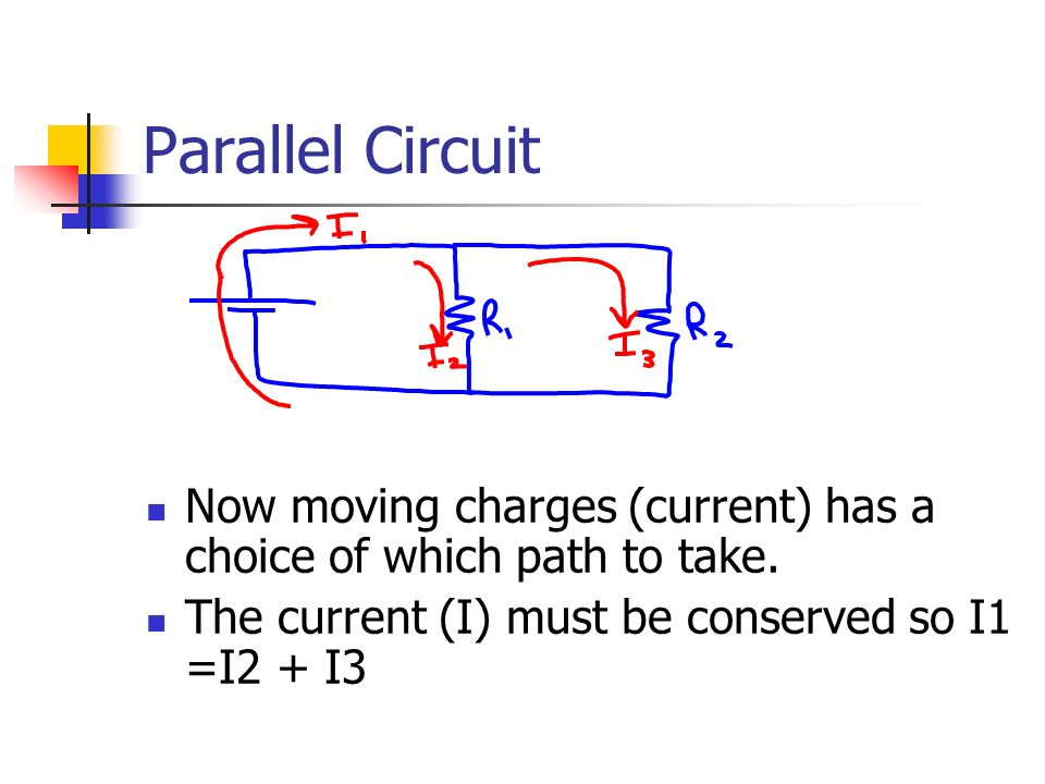 Parallel Circuit Now moving charges (current) has a choice of which path to take.