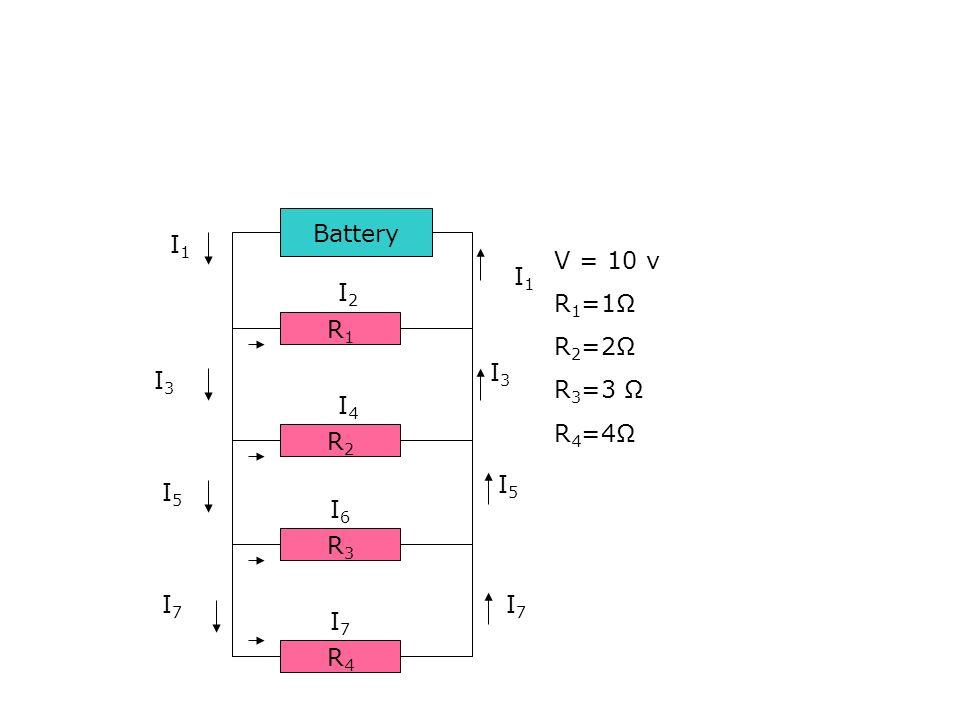 Battery R1R1 R2R2 R3R3 R4R4 I1I1 I2I2 I4I4 I6I6 I7I7 I3I3 I5I5 I1I1 I3I3 I5I5 I7I7 I7I7 V = 10 v R 1 =1Ω R 2 =2Ω R 3 =3 Ω R 4 =4Ω