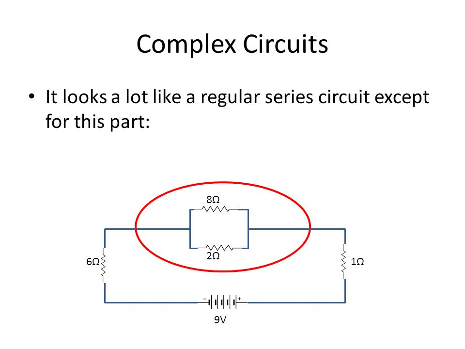 Complex Circuits It looks a lot like a regular series circuit except for this part: 8Ω2Ω8Ω2Ω 6Ω 1Ω 9V