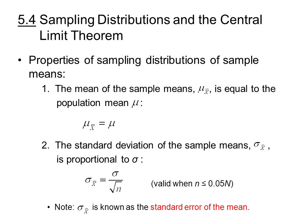 5.4 Sampling Distributions and the Central Limit Theorem Key ...